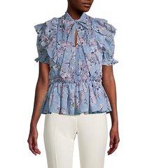 floral ruffle tieneck blouse