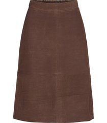 susan suede skirt rok knielengte bruin lexington clothing
