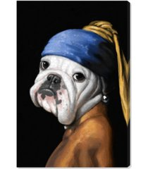 "oliver gal carson kressley - dog with the pearl earring canvas art - 36"" x 24"" x 1.5"""