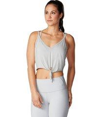 tavi noir women's tie front yoga tank top - light grey x-large spandex