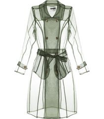 apparis transparent trench coat - verde