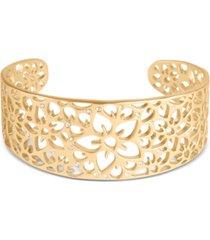 lucky brand gold-tone floral openwork cuff bracelet