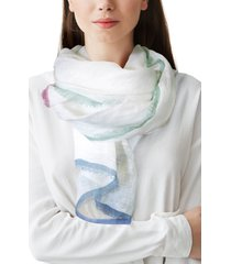 women's nicoletta rosi hand painted linen scarf, size one size - black