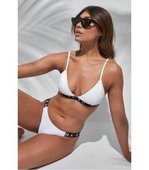 na-kd swimwear sporty logo side bikini briefs - white