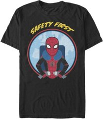 marvel men's spider-man far from home buckle up safety first, short sleeve t-shirt