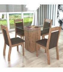 mesa de jantar 4 lugares break dover/chocolate - mobilarte
