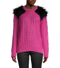 prada women's faux fur shoulder knit sweater - pink - size 38 (2)