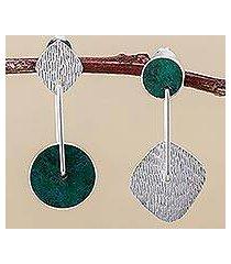 chrysocolla dangle earrings, 'opposites attract' (peru)