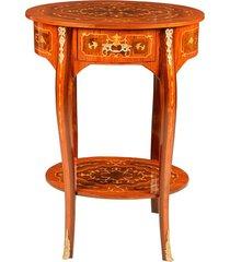 mesa oval luís xv de madeira com marchetaria e 1 gaveta