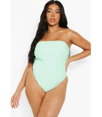 plus geribbeld strapless badpak, mint