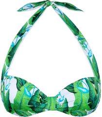mc2 saint barth tropical green leaves print bralette top