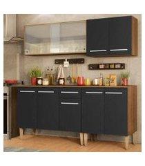 cozinha completa madesa emilly box com balcão e armário vidro miniboreal - rustic/preto rustic/preto