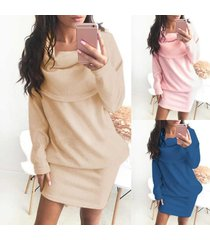 2017 new women long sleeve knit sweater dress turtleneck package hip dresses