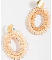 axal two tone oval drop earrings - pale pink