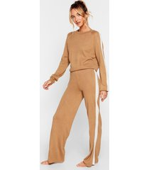 womens we're your stripe sweater and pants lounge set - camel