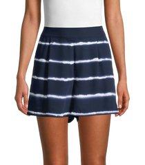laundry by shelli segal women's striped tie-dye shorts - navy white - size xs