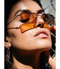 rectangle metal crossbar ombre sunglasses
