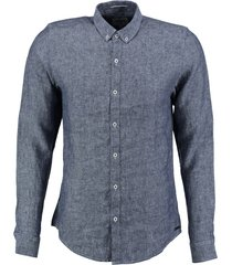 garcia blauw linnen overhemd