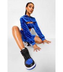 super korte velours hoodie met b reliëf, blue