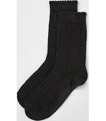 river island womens black textured ankle socks