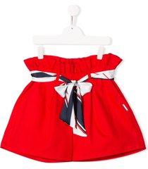msgm kids teen ribbon-tie shorts - red