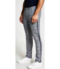 river island mens grey check super skinny stretch trousers