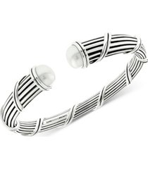 peter thomas roth freshwater pearl (10mm) cuff bracelet in sterling silver
