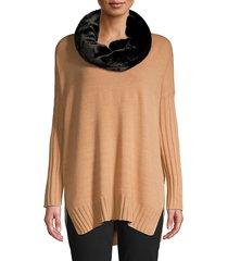 karl lagerfeld paris women's faux fur scarf - black