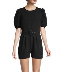 bcbgeneration women's puffed-sleeve belted romper - black - size 2