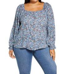 plus size women's caslon summer crepe front button blouse, size 3x - blue