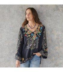 sundance catalog women's riveda blouse in graphite xs