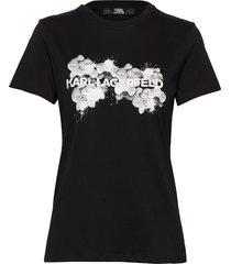 orchid logo t-shirt t-shirts & tops short-sleeved svart karl lagerfeld