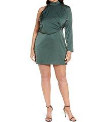 plus size women's lavish alice one-shoulder long sleeve high neck satin dress, size 14w - green
