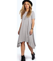 plus hanky hem swing dress, grey marl
