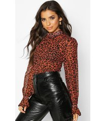 woven animal print high neck blouse, brown