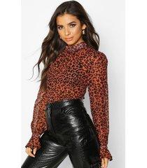 woven animal print high neck blouse, brown