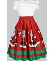 christmas santa claus off shoulder lace insert dress