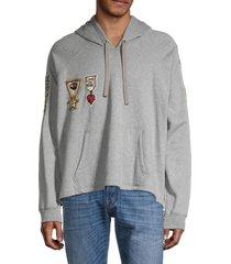 valentino garavani men's patch raglan-sleeve hoodie - grigio - size s