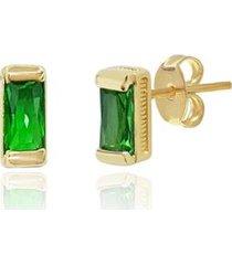 brinco piuka retangular esmeralda folheado ouro feminino - feminino