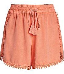 pom-pom chambray shorts