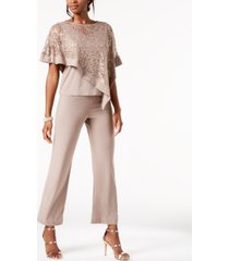 r & m richards sequined capelet two piece pant set