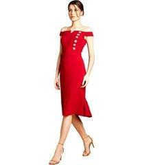 vestido midi izadora lima brand em crepe ombro a ombro feminino