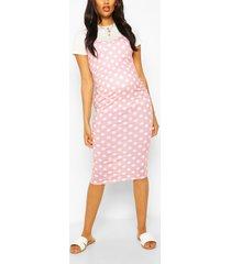 maternity polka dot 2 in 1 bodycon dress, rose