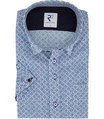 korte mouwen overhemd r2 donkerblauw patroon