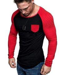 contrast raglan sleeve pleated trim pocket t shirt