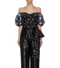 """deco' sequin embellished mesh puff sleeve drop shoulder top"