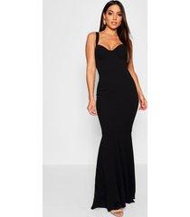 fitted fishtail maxi bridesmaid dress, black