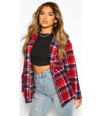 petite flannel wool look longline shirt jacket, red