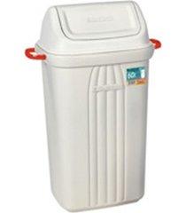 lixeira basculante de plástico 59 litros bege
