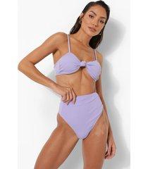 opgeknoopte strapless bikini top met textuur, lilac
